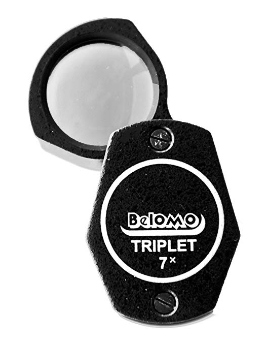 BelOMO 7x Triplet Loupe Folding Magnifier, High-Quality Optical Glass with Anti-Reflection Coating