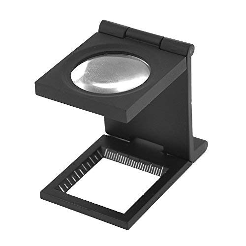 Sonline Black Metal Folding Magnifier Magnifying Glass Jewelry Loupe 10X
