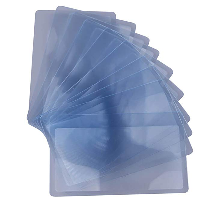 GOOTRADES Credit Card Sized Magnifying Lenses 300% Fresnel Magnifier (pack of 10)